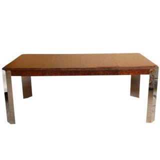 Beautiful Pace Burled Wood and Steel Versatile Dining Table and Game Table