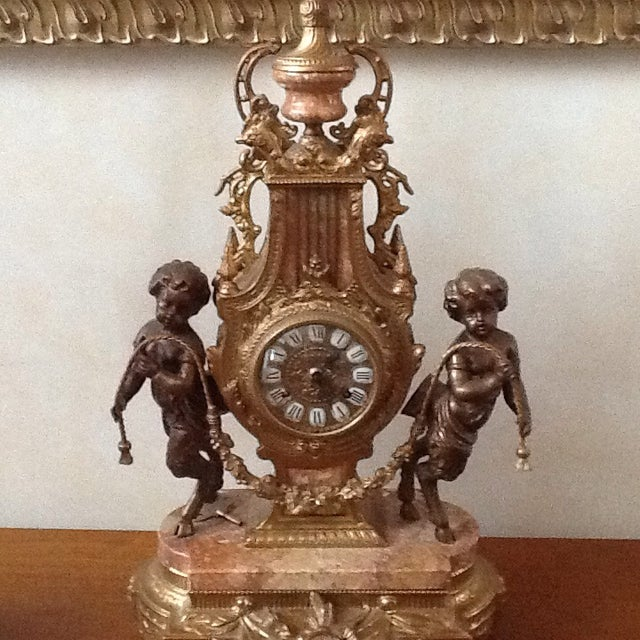Marble Cherub Clock and Candelabras - Image 3 of 5