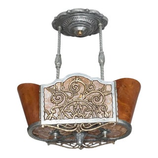 Art Deco Oval Chandelier in Mica, Bakelite and Polished Aluminum and Brass