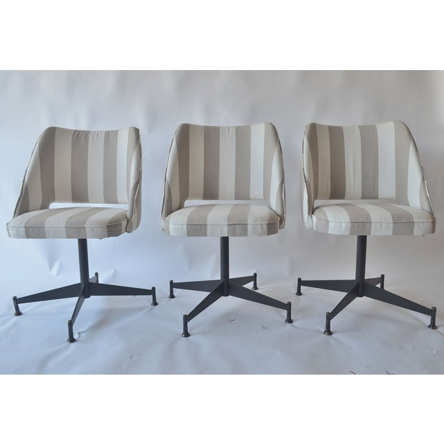 Image of Schumacher Striped Fabric Swivel Chairs - Set of 3