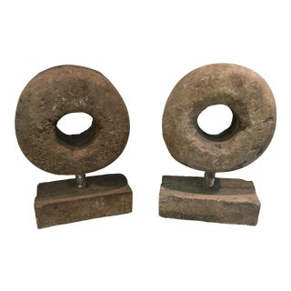 Sculptural Stone Rounds - A Pair