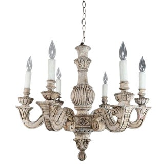 French Carved Wood 6-Light Chandelier