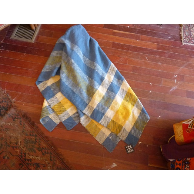 Vintage Blue and Yellow Wool Throw - Image 5 of 6