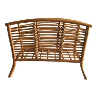 Vintage Boho Chic Rattan Magazine Holder