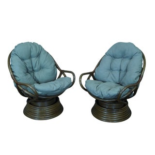 Quality Rattan Swivel Rocking Lounge Chairs - Pair