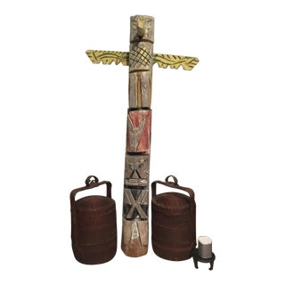 Americana Folk Art Pine Totem Pole From a Fuel Station in Maine
