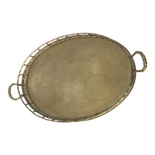 Brass Faux Bamboo Serving Tray