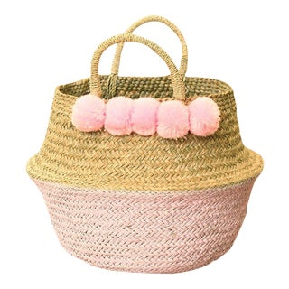 Pink Double Woven Sea Grass Belly Basket
