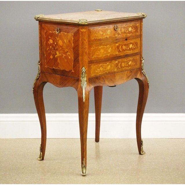 Antique Fine French Marble Top Gilt Bronze Mounted Inlaid Bar Liquor Cabinet - Image 2 of 11