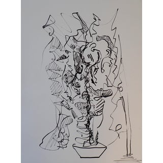 Erik Sulander Potted Plant Original Abstract Ink on Paper Drawing