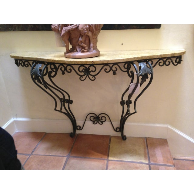 Classical Italian Antique Marble Top Console Table - Image 2 of 3