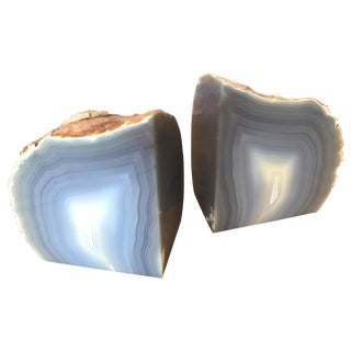 Agate Bookends Blue Gray - Pair