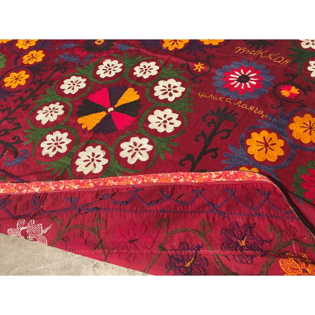 Dark Red Suzani Blanket - Image 4 of 6