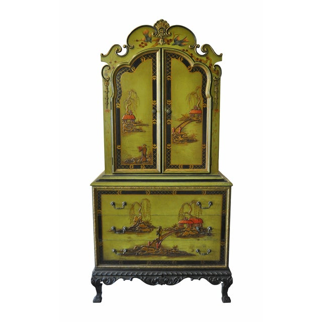 Image of 1930s Pear Green Chinoiserie Armoire