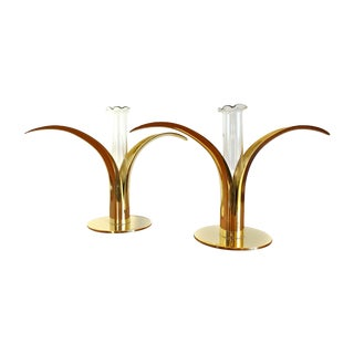 Ystad Metall Brass Lily Candle Holders/Vases