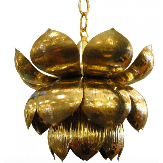 Small Brass Lotus Pendant Lights - Set of 3 - Image 2 of 7