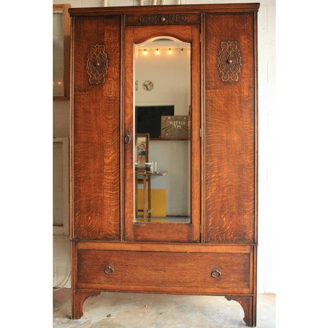Image of Antique Armoire With Mirror