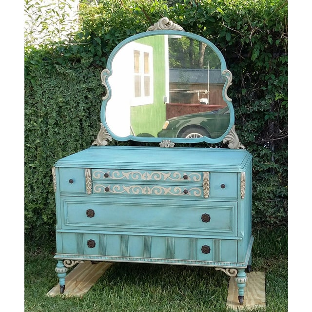 Hand-Painted Depression Era Dresser with Mirror - Image 3 of 10