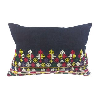 Uzbek Embroidered Indigo Pillow