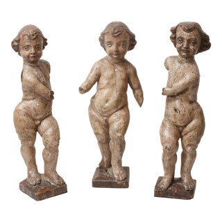 Antique Northern Italian Carved Wood Angels - Set of 3
