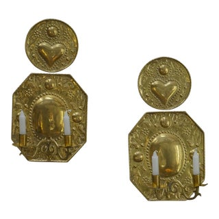 Pair of Hand-Hammered Brass Sconces (#51-28)