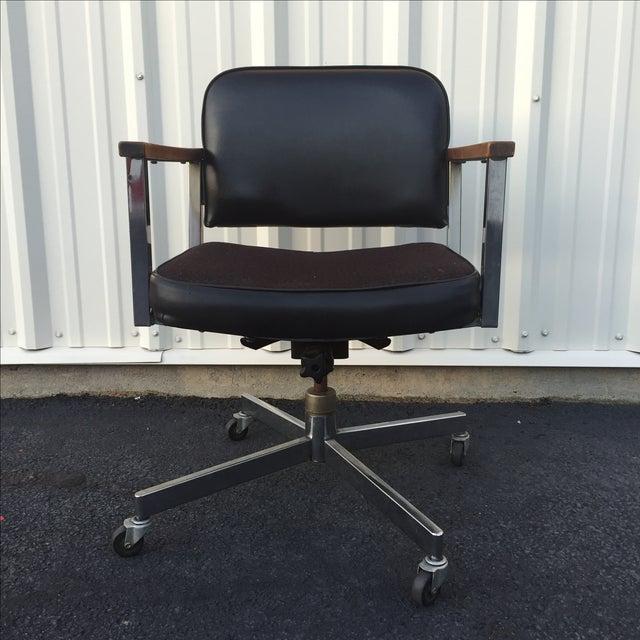 Mid century modern wheeled desk chair with wood chairish