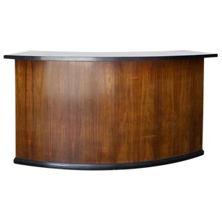 Art Deco Curved Mahogany and Black Lacquer Cocktail Bar