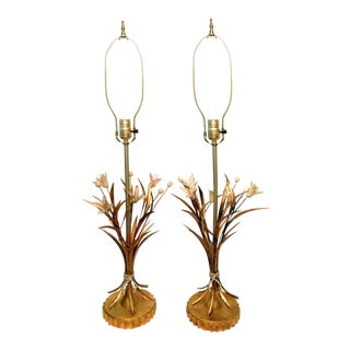 Vintage Brass Tole Style Table Lamps- Pair