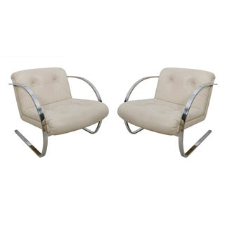 Brueton Chrome & Leather Lounge Chairs - Pair