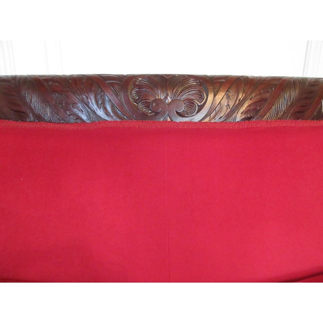 Antique Wood Carved & Red Fabric Sofa - Image 3 of 9