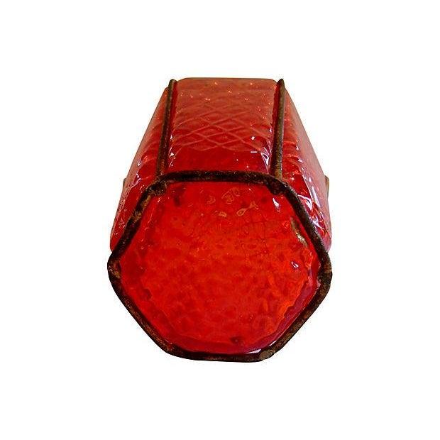 Image of Red Italian Murano Pendant Lanterns - Set of 3