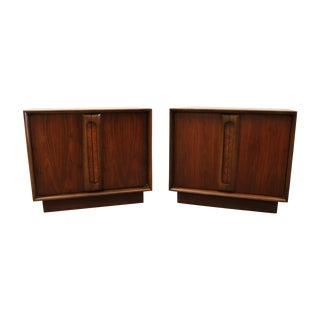 Mid-Century Modern Walnut Lane Nightstands - Pair