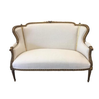French Antique Louis XVI Style Parcel Gilt Sofa