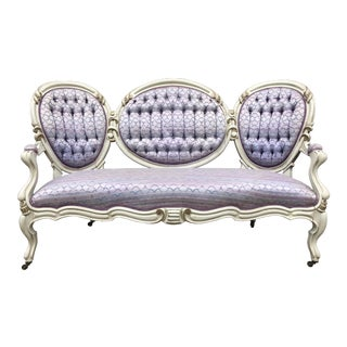 Victorian Lilac Upholstered Settee