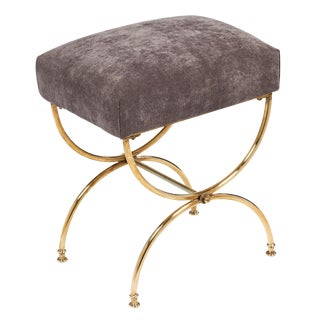French Vintage Mid-Century Brass Curule Stool