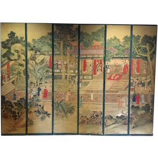 Antique Chinese Folding Screen Chinoiserie Room Divider 6 Panel