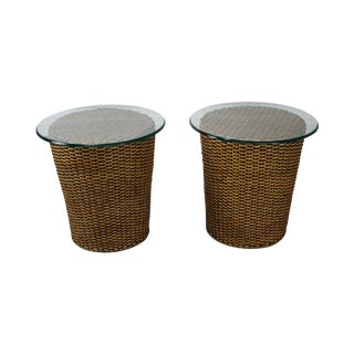 Woven Wicker Wrapped Cylinder End Tables - A Pair
