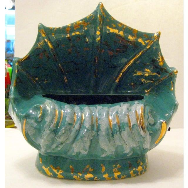 Turquoise Ceramic Shell Shape Table Lamp - Image 2 of 6