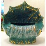 Image of Turquoise Ceramic Shell Shape Table Lamp