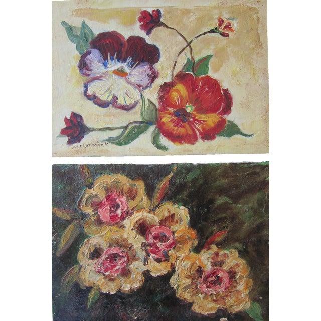 Vivid Vintage Flower Paintings- A Pair - Image 1 of 8
