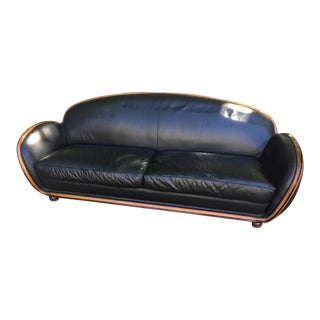 Art Deco Black Leather Sofa
