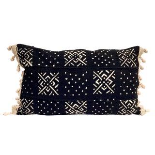 Mud Cloth Lumbar Pillow with Wood Beads