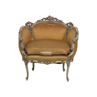 Louis XVI Style Distressed Cream Painted Settee