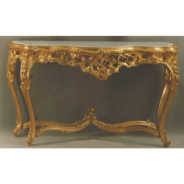 Image of Hand Carved & Decorated Italian Wood Console