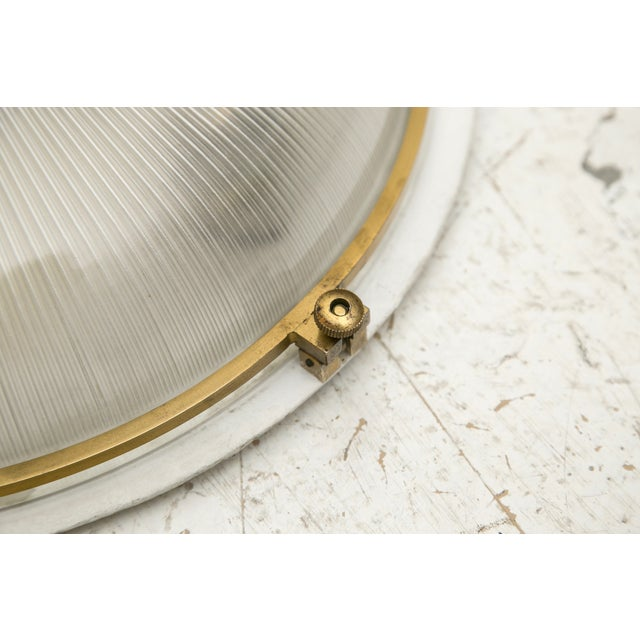 1930s French Brass & Glass Sconce Ceiling Light - Image 7 of 9