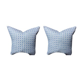 Victoria Hagan Pillows in Sky Blue Platinum Ring Pattern - a Pair