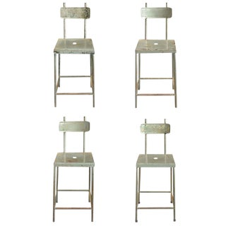 Set of Four French Industrial Stools