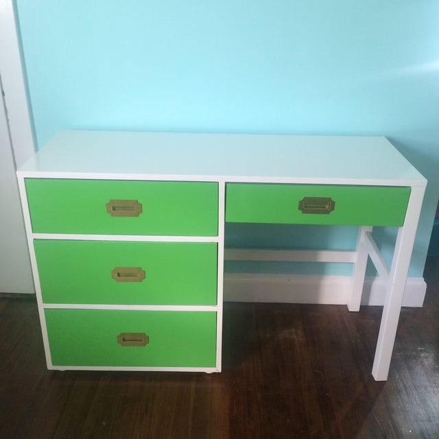 Lacquered Vintage Campaign Desk - Image 2 of 6