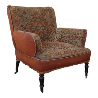 19th Century Napoleon III Armchair in Vintage Tapestry Fabric