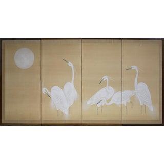 Vintage Cranes & Moon Folding Room Screen
